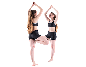 Young woman doing yoga routine 54 3D model