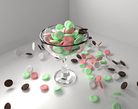 Chocolate Coin Drops in Bowl 3D