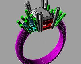Emerald Ring 3D print model anello cestino an245 3D print