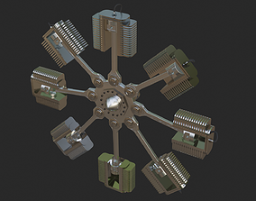 3D model animated engine Radial Engine