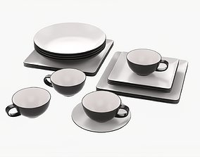 3D model Square and round dinnerware set