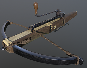 Crossbow with cranequin 3D asset
