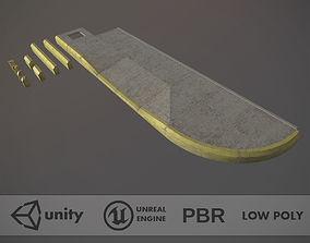 3D asset Sidewalk - Modular Set 4 with Yellow Curb