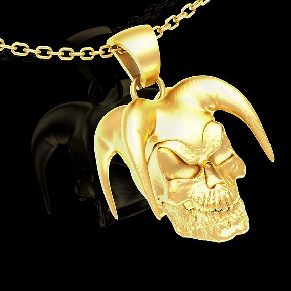 Jester skull Sculpture pendant jewelry gold necklace 3D print model