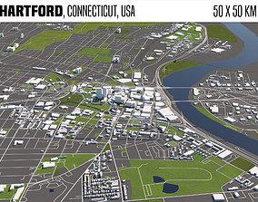 Hartford Connecticut USA 50x50km 3D