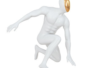 Abstract white mannequin sitting in a superhero 3D model 1