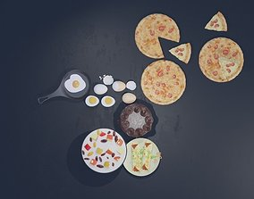 3D model food collection including pizza cake chicken and