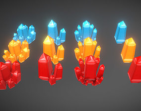 Low Poly Crystal pack 3D model