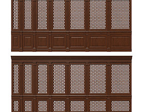 3D model Wooden panels with lattice