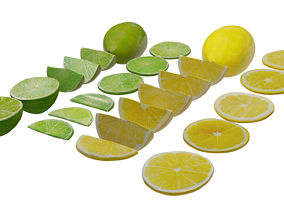 3D asset Lime and Lemon PBR