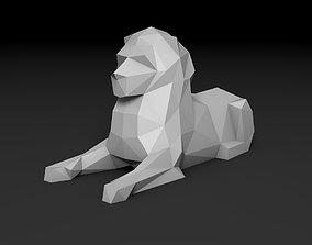 figure low poly lion 3D printable model