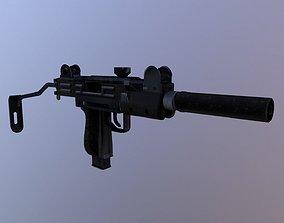 3D asset UZI with Suppressor