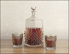 3D Decanter with whiskey and glasses