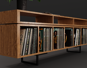 Vinyl LP Storage with Record Player Stand PBR 3D model