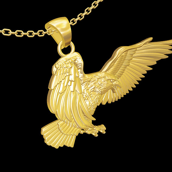Eagle in flight pendant jewelry gold necklace medallion 3D print model