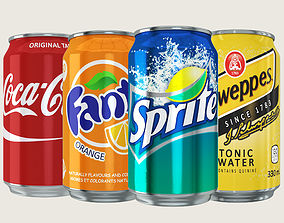 Soft Drink Can Collection 3D model low-poly