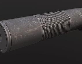 3D asset 9mm pistol silencer