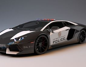 Lamborghini Aventador LA Police 3D model game-ready