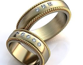 Gold Metal Rings 3D print model gem white
