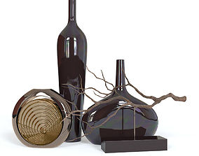 3D model Black Vases and Decorative Branch