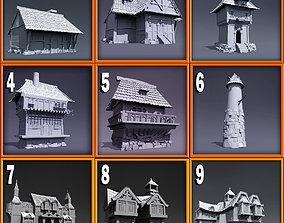 Ultimate medieval style houses Base Model 3D