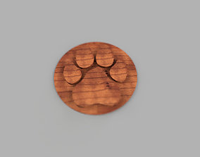 dog paw coaster simple 3D printable model