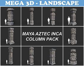 3D asset Low poly Mayan Inca Aztec Column Modular Pack