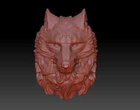 3D printable model wolf head bas