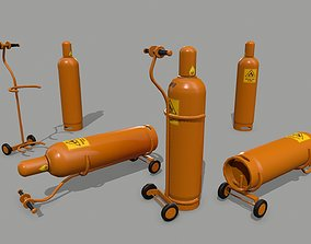 gas cylinder 3D model game-ready iron
