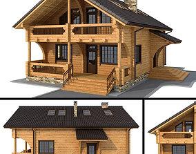 3D model Log house - rounded log