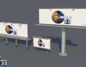 game-ready lowpoly billboard collection pack 3d model