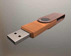 USB Stick Low Poly Wood Version - Gameready - PBR 3D asset