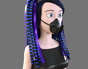 3D model Cybergoth cartoon female character