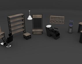 Barbershop furniture set 3D