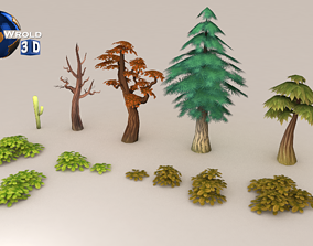 Lowpoly Tree Leafs Collection Pack 3D Model game-ready