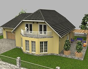 3D model Family house with garage