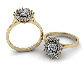 3D print model Diana rings 7x5 OVAL jewellery