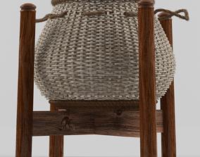 wicker handmade Basket 3D model
