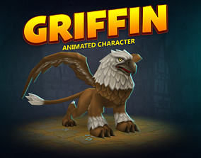 Griffin animated character 3D asset