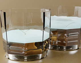 3D asset Two glass cup with beer
