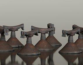 Headrest Africa Wood Furniture Prop 13 3D asset