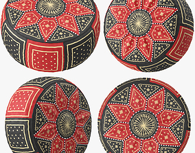 Red Black Moroccan Leather Pouf 3D model