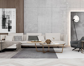 Living Room European Sofa Chair minimalism 3D model
