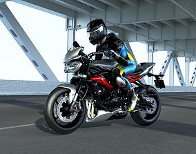 Triumph street triple RX with rider 3D model