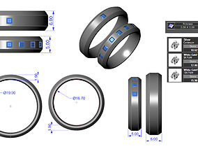 The wedding ring set for Male and 3D printable model