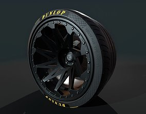 Wheel for supercars with Dunlop and TOYO tires 3D model