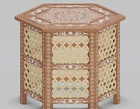 3D model Hexagonal ornate Moroccan table 02