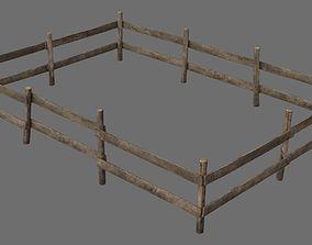 3D asset Wooden Fence 1A