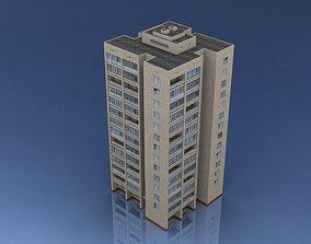 3D asset Russian Apartment Brick Building 14 Storey