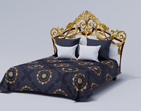 3D model Classical Bed with 2 pairs of cushions